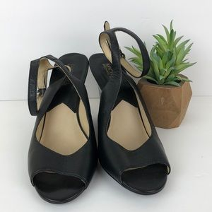 Michael Kors Black Leather Ankle Strap Wedges 8